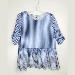 Entro Checkered Top Lace Detail